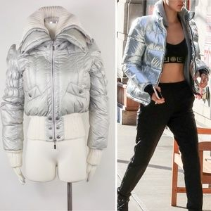 Just Cavalli Silver Down Puffer Ski Coat Crop Knit